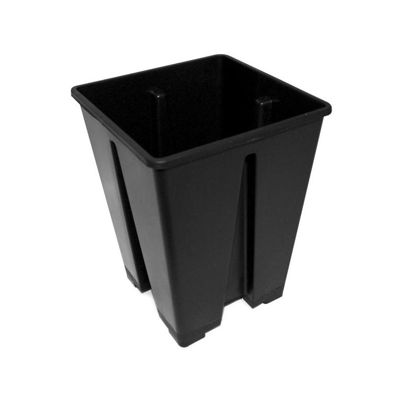 Pot carré noir plastique 15X15X20 3,6L