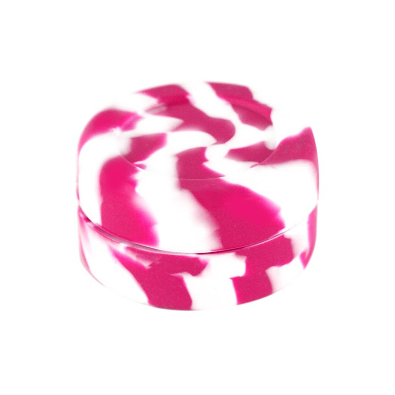 Boîte silicone diamètre 3,6 cm blanche et rose , wax