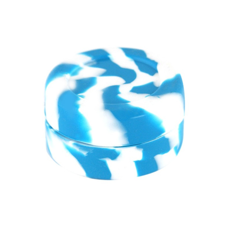 Boîte silicone diamètre 3,6 cm bleue et blanche