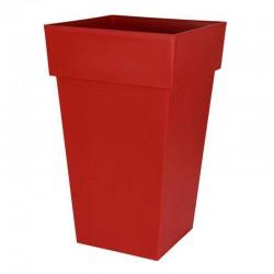 EDA Plastiques - Pot haut carré Toscane 39x39x65cm 62L Rouge Rubis