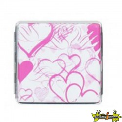 ETUI A 20 PLACES 85MM ALU - COEUR ROSE FOND BLANC