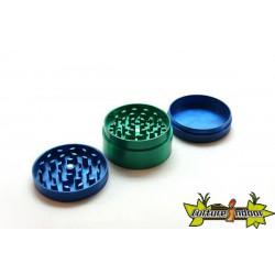 Moulin anodisé 3 parts diamètre 55 mm bi-couleurs bleu / centre vert