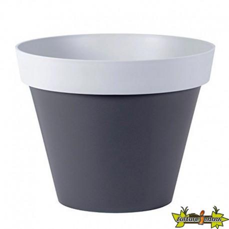 EDA Plastiques - Pot rond Style 40x32cm 23L Béton/Anthracite