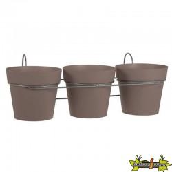 EDA - Lot de 3 pots Ø13cm Toscane Taupe 41.5x22x15cm