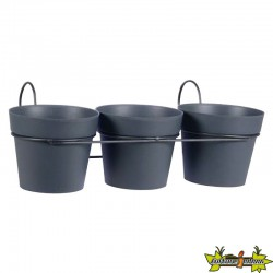 LOT DE 3 POTS TOSCANE D15 GRIS ANTHRACITE + SUPPORT- 47X23X17CM 1.6L