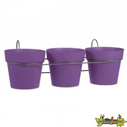 LOT DE 3 POTS TOSCANE D13 PRUNE + SUPPORT- DIAM 13.6 41.5X2