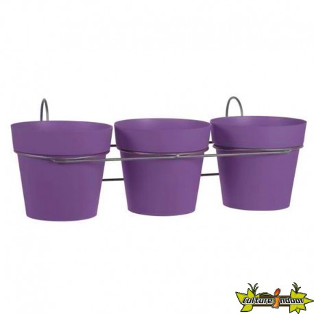 LOT DE 3 POTS TOSCANE D15 PRUNE + SUPPORT- 47X23X17CM 1.6L