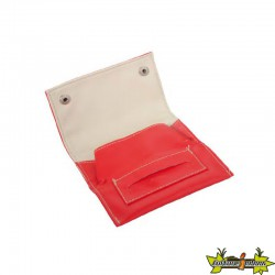 POCHETTE ROUGE SURPIQUE BLANC 13X7.5CM - DL-12