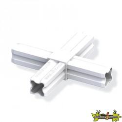 Connecteur en croix blanc Ø23.5mm 4 embouts pour tube alu et pvc