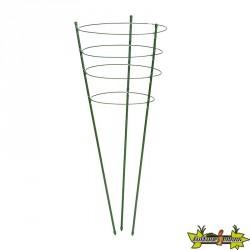 Tuteurs 4 anneaux et soutiens en acier plastifié verts pour plante et massif - H120cmxØ11mm