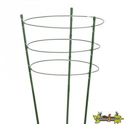3 Anneaux et soutiens en acier plastifié verts pour plante et massif - H60cmxØ7mm