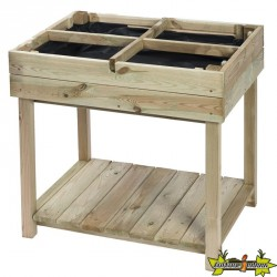 Carré potager table 4 sections H80x80x60cm pin du nord classe III, fsc