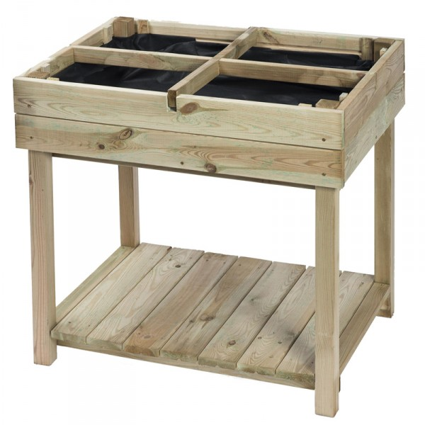 Carré potager en bois table 4 sections H80x80x60cm pin du nord classe III, fsc