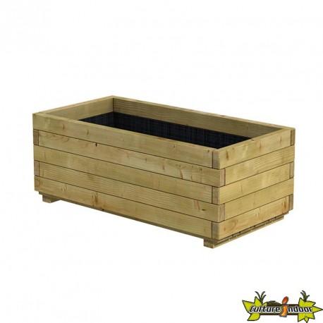 Bac rectangle en bois épicéa autoclave pot 100 x 50 x 39cm - Traité contre  les fongicides