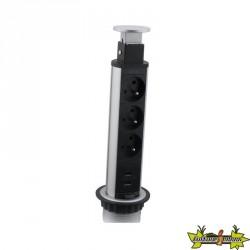 Bloc escamotable Ø60mm 3 prises + 2 chargeurs USB