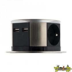 BLOC ESCAMOTABLE COMPACT 3P+USB INOX