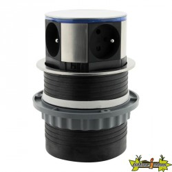 Bloc escamotable compact INOX 3 prises 16A + 2 USB à LED