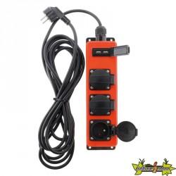 Bloc IP44 ATELIER 3 prises 2P+T + 2 Prises Chargeurs USB 2,1A câble H05RN-F - 3G1,5mm² - 3M