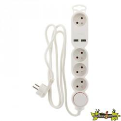 Bloc 4X16A + inter BLANC câble HO5VVF 3G1mm² - Longueur 1,5 M + 2 USB 2,1A* équipé d'une fiche EXTRAPLATE