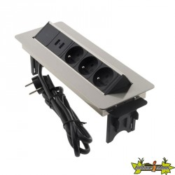 Bloc prises pivotant INOX 3 prises + 2 USB