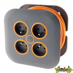 """""""Enrouleur domestique 4x16A Fiche Extraplate Câble 3G1mm² Longueur 7 M Gris / orange"""""""