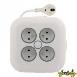 Enrouleur domestique 4 prises 16A Fiche Extraplate Câble 3G1mm² Longueur 7 M Blanc otio