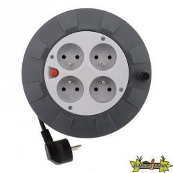 Enrouleur HO5VV-F 4 prises 3G1mm² 5 M + coupe-circuit