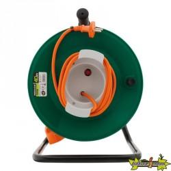 Enrouleur sans prise - 2 x 1,5 mm² - 40 m pied métal + coupe circuit