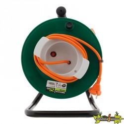 Enrouleur de jardin - 2 x 1,5 mm² - 25 m pied métal + coupe circuit