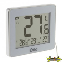 THERMOMETRE INT/EXT LCD 82x99MM SONDE FILAIRE BLANC otio