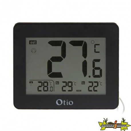 THERMOMETRE INT/EXT LCD 82x99MM SONDE FILAIRE NOIR otio