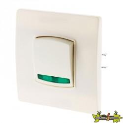Interrupteur bouton va et vient à voyant 10A Diwone blanc + griffes