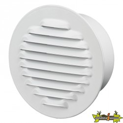 Winflex - Grille d'aération ronde ø125mm acier blanc avec écran anti-insecte