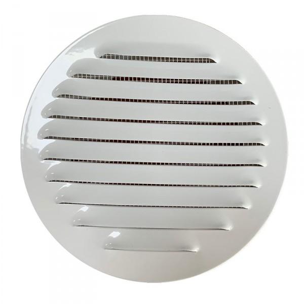 Winflex - Grille d´aération ronde ø150mm acier blanc avec écran anti-insecte