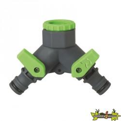Ribiland - Nez de robinet à 2 sorties 3/4 - 1/2