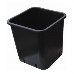 Pot carré noir plastique 23 x 23 x 26 - 11L