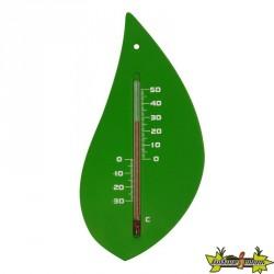 Nature - Thermométre mural extérieur en plastique - Vert en forme de feuille d'arbre H 15 X 8 X 0.3 cm