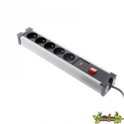 Zenitech - Bloc 5 prises x 16 A - Parafoudre + interrupteur - Noir