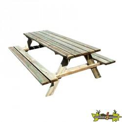 Bois de Pologne - Table de pique-nique Leo 200x148x70cm - section 40x120cm
