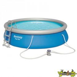 Bestway - Piscine ronde Fast Set Pools + filtre à cartouche - Ø 457 cm - H 107 cm