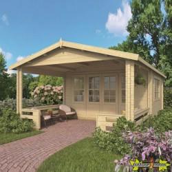 Tuindeco - Chalet bois massif 17.6m² - 58mm - Qualité résidentielle - Leeds