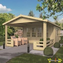 Tuindeco - Chalet bois massif 13.4m² - 58mm - Qualité résidentielle - Bristol