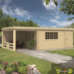 Tuindeco - Chalet bois massif 22m² - 45mm - Qualité résidentielle - Benny + auvent 280cm