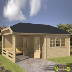 Tuindeco - Chalet bois massif 18m² - 45mm - Qualité résidentielle -Vigdis With + Porche 280cm