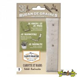 La ferme Sainte Marthe - Ruban de 150 graines Carotte et Radis Rothild Rond Ecarlate AB
