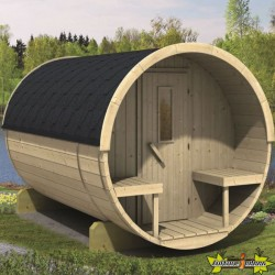 SAUNA TONNEAU EN PIN Ø195 - L 300CM AVEC SHINGLE THERMOWOD