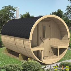 SAUNA TONNEAU EN PIN Ø215 - L 400CM AVEC SHINGLE THERMOWOD