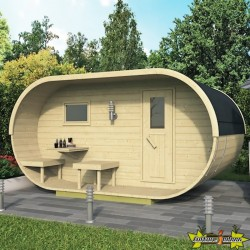 Tuindeco - Sauna oval en pin 405 x 240 x h216 cm avec shingle