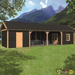 Tuindeco - Bâtiment modulaire pour jardin Hamar XL type 12 - Paroi noir