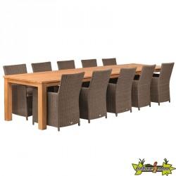 TABLE DE JARDIN RUSTIQUE EN TECK ROBUSTE 400 X 100CM